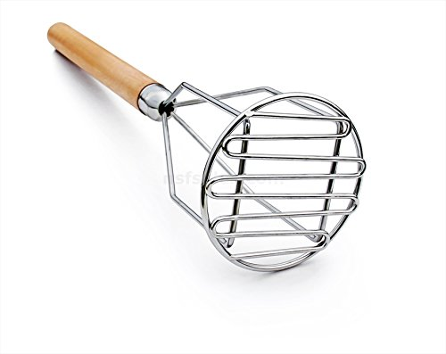 New Star Foodservice 37630 Commercial Grade Potato Masher, 18-Inch, (Round Potato Masher)
