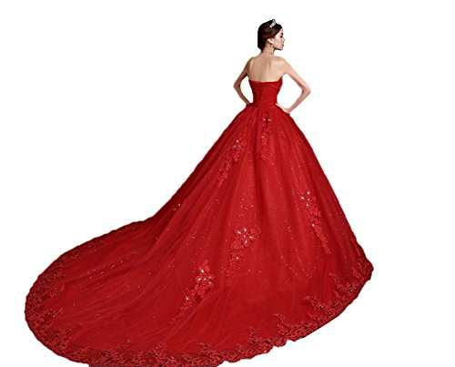 Amore Bridal Luxury Womens Ball Gown Wedding Bridal Dress Princess Cathedral Train Red, 18W (Cathedral Wedding Train Dress)