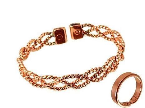 1c089d84ed9f The Online Bazaar Brazalete de mujer diseño de encaje magnetico y  terminaciones saves set con caja de presentacion - Anillo grande  16 a 18  mm  Amazon.es  ...