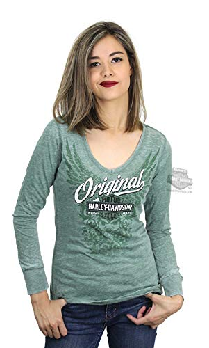 Harley-Davidson Womens Original Scroll Wings Burnout Wash Long Sleeve Shirt (Large) Green