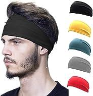 Funshow 5 Pack Sports Performance Headband, Youth Fashion Sweatband Elastic Basketball Yoga Running Workout Fi