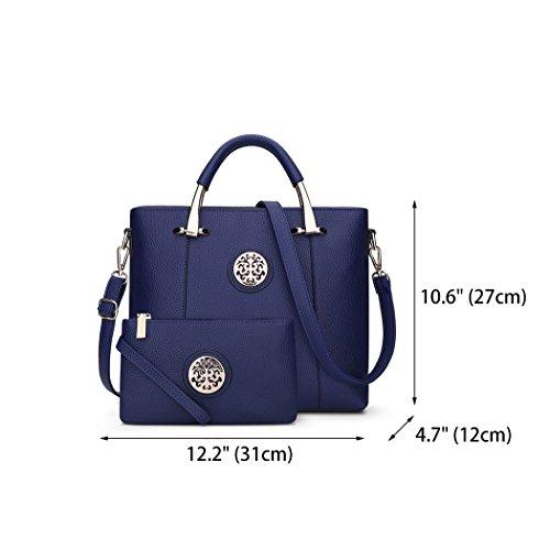 Top Handle Navy Women's Handbags Bags Cross Body Bags Bags Shoulder Leather Faux PzxFATwz8