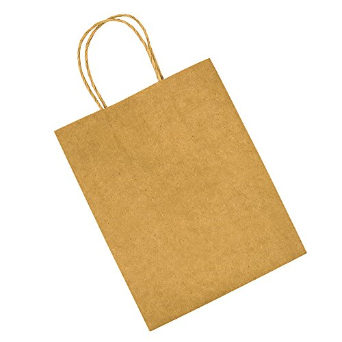 Bagmad Thicker Paper 50 Count 10x5x13, Large Kraft Paper Shopping Bags with Handles,Gift Natural Party Retail Craft Brown Bags,50PCS by Bagmad (Image #3)'