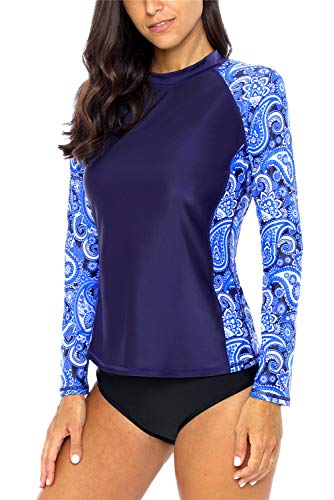 ALove Women Paisley Rashguard Swimsuit Quick Dry Swim Shirt Floral Swim Top Navy XL