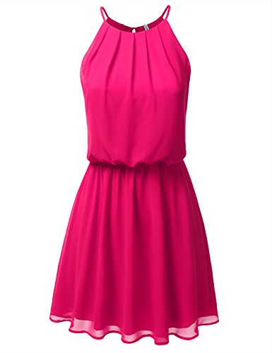 JJ Perfection Women's Sleeveless Double-Layered Pleated Mini Chiffon Dress Fuchsia 2XL