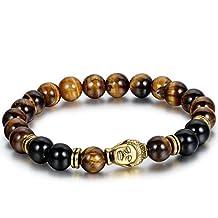 Flongo Men's Brown Stone Beads Yoga Antique Silver Buddha Bracelets