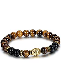 Flongo Men's Brown Stone Beads Yoga Antique Gold Buddha Bracelets, Handmade Link Stretch Beads Bracelet with Antique Buddha Head