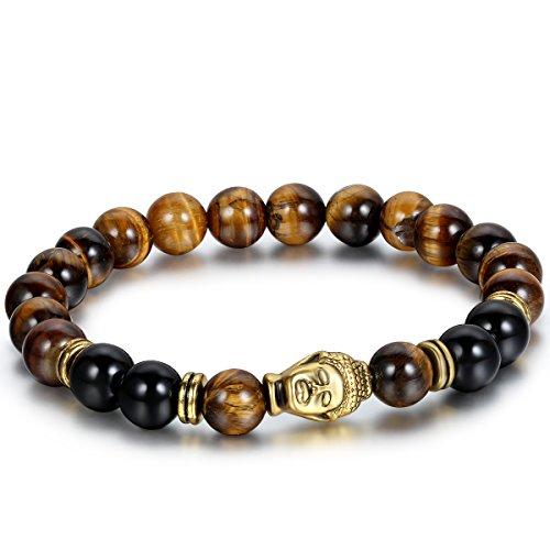 Flongo Men's Brown Stone Beads Yoga Antique Gold Buddha Bracelet