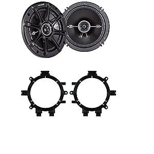 "CAR TRUCK STEREO FRONT DOOR AFTERMARKE SPEAKER MOUNTING ADAPTER PLATE BRACKETS WITH 2) Kicker DSC654 D-Series 6.5"" 240 Watt 2-Way 4-Ohm Car Audio Coaxial Speakers"