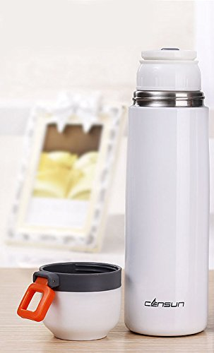 White Antibacterial Thermoes Cup Travel Coffee Mug Water Bottle Stainless Steel