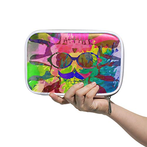 (Bardic Pen Pencil Case Abstract Colorful Skull Makeup Brush Bag Travel Organizer Cosmetic Pouch Passport Holder for Men)