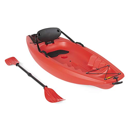 Best Choice Products 6ft Kids Kayak w/Paddle, Cushioned Backrest, Storage Compartment, Wheel - Red