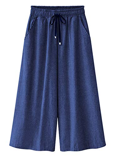 HOW'ON Women's Elastic Waist Wide Leg Cropped Capris Drawstring Jean Culottes Pants Dark Blue M ()