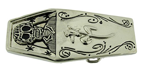 Skull Belt Buckle Coffin Dead Skeleton Graveyard Rock Rebel Original Silver Gift ()