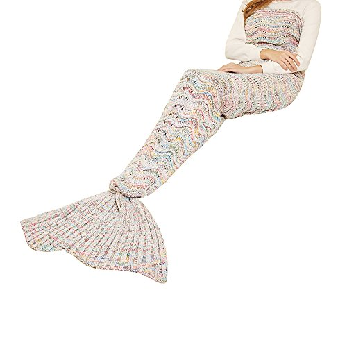 Yeahbeer Handmade Scales Pattern Warm and Soft Mermaid Tail Blanket for Adult (71-Inch-by-32-Inch), Wavy white