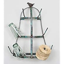Glory & Grace Small Rustic French Farmhouse Weathered Blue Bird Wall Mounted Glass, Cup & Mug Drying Tree Rack