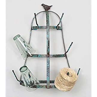 Small Rustic French Farmhouse Weathered Blue Bird Wall Mounted Glass, Cup & Mug Drying Tree Rack