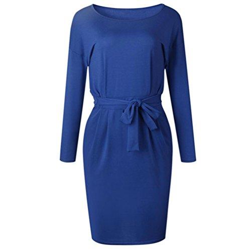 Femmes V Occasionnel Solide Court Poche Automne Bleu Paty Arc Col Longues Robe zahuihuiM pour Manches Mode Printemps Mini Robe dqzxd7X