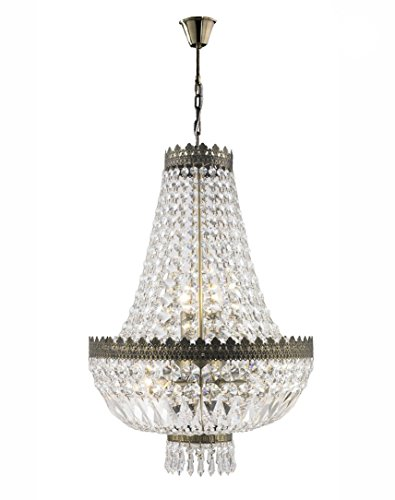Worldwide Lighting W83084B16 Metropolitan 6 Light Mini Chandelier, Antique Bronze Finish and Clear Crystal, 16