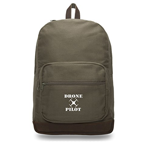 Drone Pilot Canvas Teardrop Backpack with Leather Bottom Accents, Olive & Wh