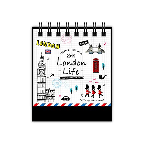 Fitlyiee Small Cute Desk Calendar 2019 Academic Year Desktop Standing Calendars Twin-Wire Binding 12 Monthly Planners (London)