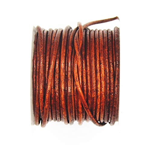 Spool Genuine Leather 3mm Leather Cord USA Premium Round Leather Cord Ideal for Jewelry 10 Meter 11 yd Splice Free 403 Natural Red Brown