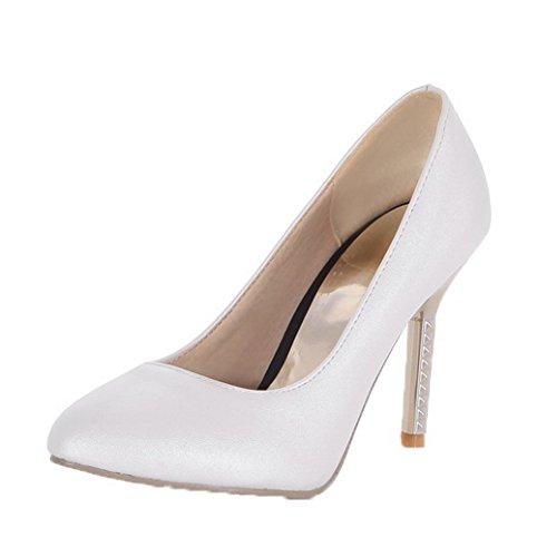 Tire Couleurs Femme Pointu PU VogueZone009 Cuir Légeres Talon à Haut Chaussures Blanc Mélangées SqRgY