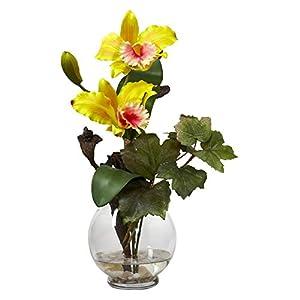 Mini Cattleya with Fluted Vase Silk Flower Arrangement 90
