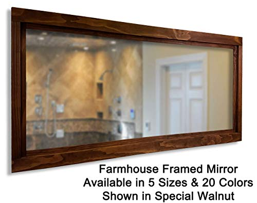 Farmhouse Large Framed Mirror Available in 5 Sizes and 20 Stain Colors: - Mirrors Western Vanity Bathroom