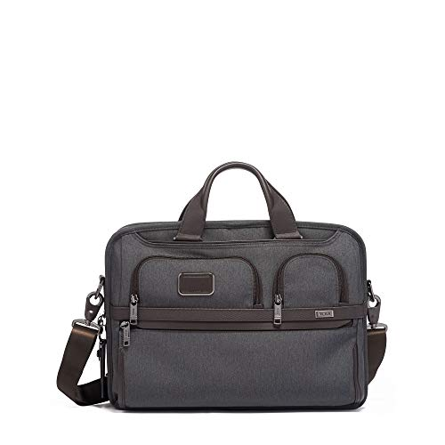 TUMI - Alpha 3 T-Pass Medium Screen Laptop Slim Brief Briefcase - 14 Inch Computer Bag for Men and Women - Anthracite - Lightweight Computer Brief