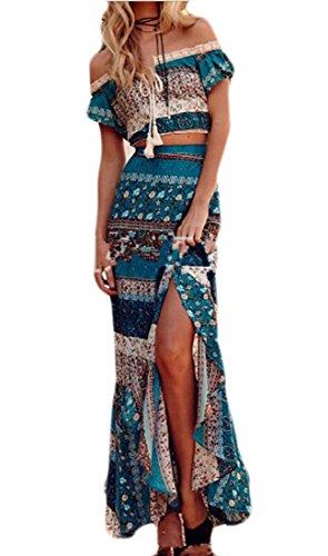 Long Skirt Set (KLJR-Women Bohemian Print Crop Tops Maxi Skirt Set 2 Pieces Outfit Beach Dress one US XS)