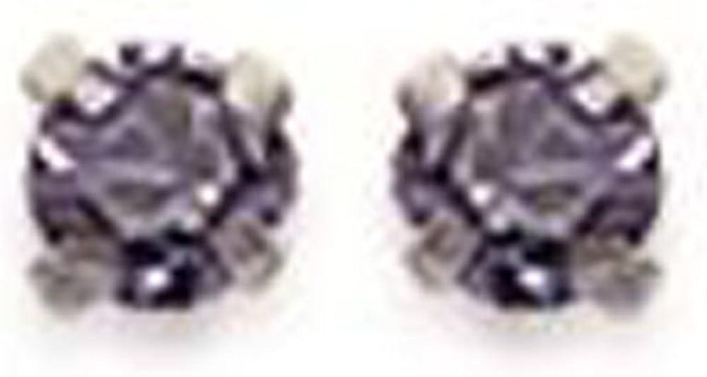 Pendientes de plata 925 / 000 y cristal color malva parma, unisex, niño, diámetro: 2 mm.