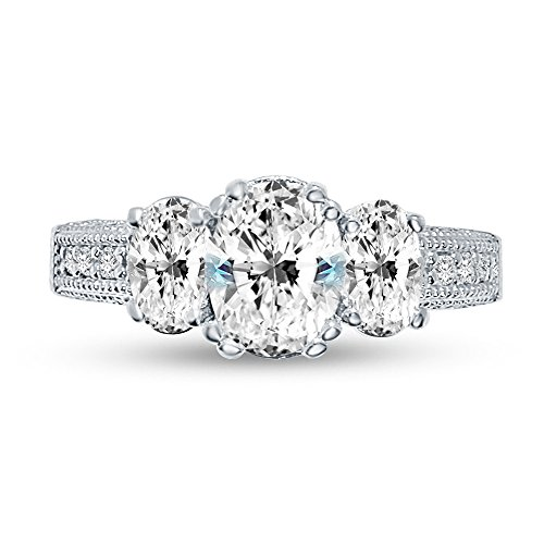 Size - 10 - 925 Sterling Silver Oval Milgrain 3 Stone With Accents Solitaire Engagement Ring CZ Cubic Zirconia (3.0cttw., 1.50ct. Center)