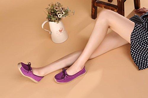 Sunrolan Femmes Daim Cuir Lacets Slip-ons Mocassins Chaussures De Travail 9802 Violet