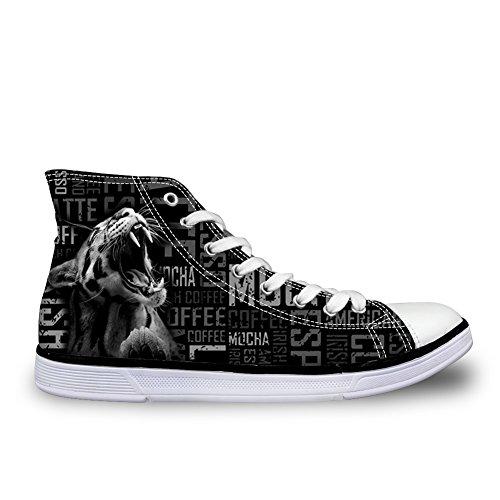 För U Designar Mode Mens Höga Topp Snörning Sneakers Andas Tillfälliga Tygskor Svart Leopard