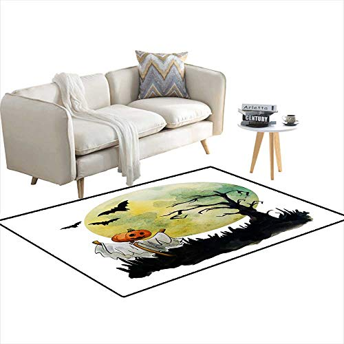 Kids Carpet Playmat Rug Scarecrow in The Dense Forest Halloween Handrawn Watercolor Illustration 36
