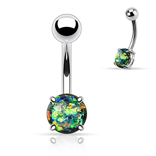 West Coast Jewelry {Dark Green} Synthetic Opal Glitter Prong Set Surgical Steel Belly Button Ring (Sold Ind.) (West Coast Belly Rings)