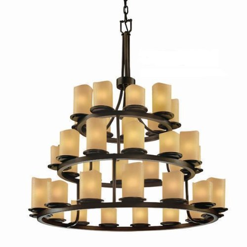 Justice Design Group ALR-8712-10-MBLK Dakota Collection 36-Light 3-Tier Chandelier, Matte Black Finish with Alabaster Rocks Shades - Dakota Collection Chandelier Light Fixture