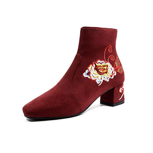 Amazon.com: GLTER Women Fashion Suede Ankle Boots 2018 Winter Leather Embroidery Walking Boots Large Size 33-43: Sports & Outdoors