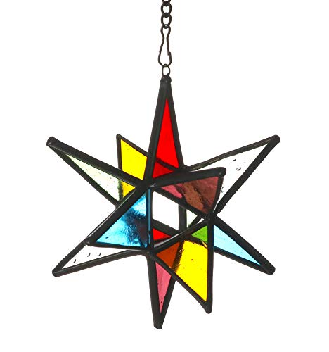 Alivagar Moravian Star Stained Glass Hanging Indoor or Outdoor Window Ornament, 3 1/2