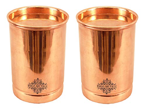 Indian Art Villa Pure Copper Plain Glass Tumbler Goblet Cup with Lid | 10 OZ Capacity | Serving Drinking Water | Home Hotel Restaurant Kitchen & Dining, Set of 2