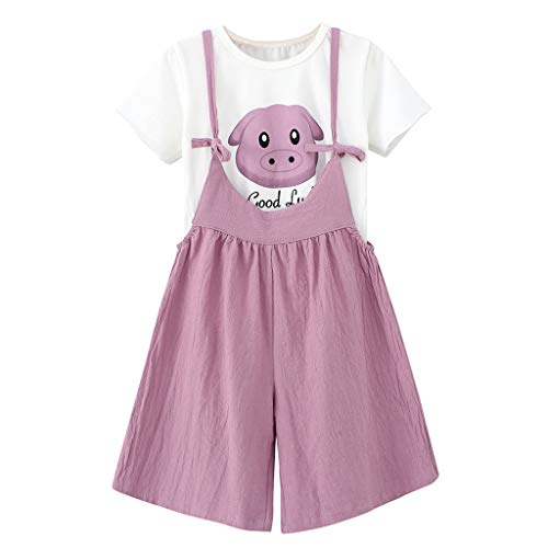 RIUDA Baby Kid Girl Summer Clothes Cartoon Tops Letter T-Shirt+Suspender Shorts Outfits Set ()