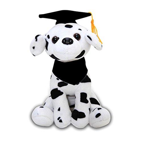 Plushland Cuddly Dog Toy, Customize Each Dog with Your School Logo on Its Black Bandana for Graduation Day (Graduation Dalmatian)]()