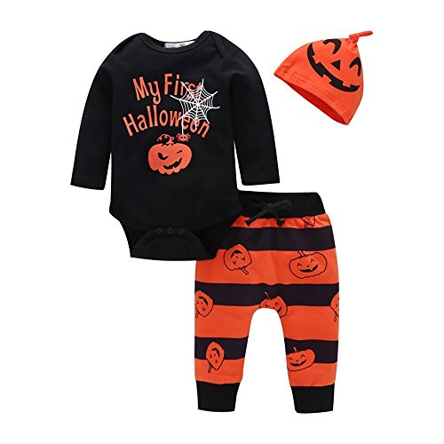 Baby Girls Boys Pumpkin Print Romper My First Halloween Bodysuit + Pants + Hat 3Pcs Outfits Set (Black, 80/6-9M) -
