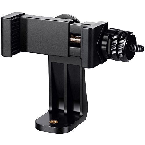 Vastar Universal Smartphone Tripod Adapter Cell Phone Holder Mount Adapter with Hot Shoe, Live Webcast Mount, Compatible with iPhone, Samsung, Rotates Vertical and Horizontal, Adjustable Clamp - Standard Mic Holder
