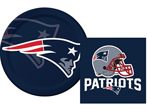 New England Patriots NFL Luncheon Napkins & Plates Party Kit for 8 (Patriots Party Supplies)