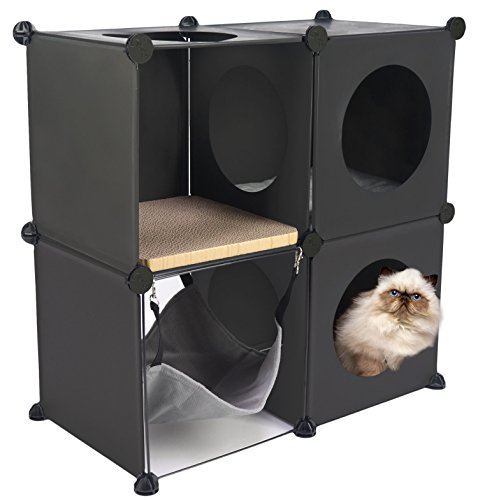 Cats in Cubes - Modular Cat Furniture (ONE KIT, BLACK)