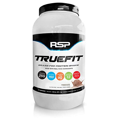 RSP TrueFit - Grass-Fed Lean Meal Replacement Protein Shake, All Natural Whey Protein Powder with Fiber & Probiotics, Gluten-Free & No Artificial Sweeteners, 2LB (Chocolate)