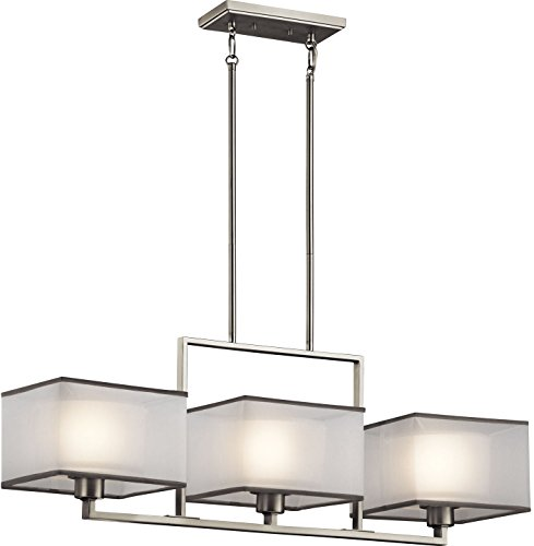 Kichler Lighting 43437NI Kailey 3LT Linear Chandelier, Brushed Nickel Finish with Etched Opal Glass Shades and White Organza Fabric Shades