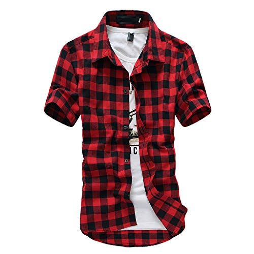 Realdo mens Mens Shirt Short Sleeve, Casual Lattice Plaid Painting Tops Blouse Red